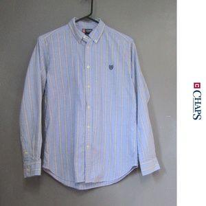 Chaps Light Blue w/ Gray White Stripe Shirt